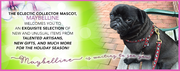 The eclectic collector mascot, Maybelline, welcomes you